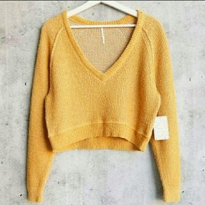 Free People High Low V Textured Sweater De Soleil